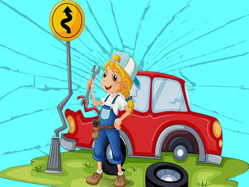 لعبة لغز السيارات المكسورة